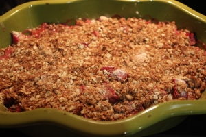 Browned crumble plus soft rhubarb= ready!